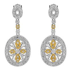 14k Two Tone Gold 0.64CTW Diamond Earrings, (I1-I2/G-I)