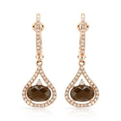 14k Rose Gold 1.94CTW Diamond and Smokey Quartz Earrings, (I1/I)