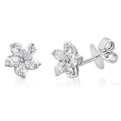 18k White Gold 1.06CTW Diamond Earrings, (SI1-SI2/G-H)