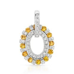 14k White Gold 2.32CTW Yellow Sapphire and Diamond Pendant, (SI2-SI3/Yellow/H-I)