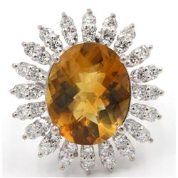 9.00 ctw Madeira Citrine and Diamond Ring - 14KT White Gold