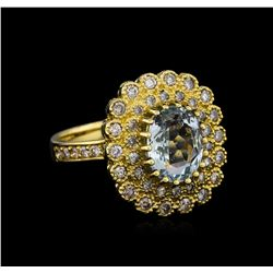 14KT Yellow Gold 2.27 ctw Aquamarine and Diamond Ring