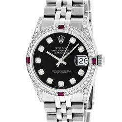 Rolex Womens Midsize 31mm Black Diamond Lugs & Ruby Datejust Wristwatch