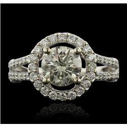 14KT White Gold 1.52 ctw I-1/Very Light Yellow Diamond Ring