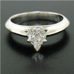 Platinum 0.66 ctw GIA Prong Set Heart Brilliant Diamond Solitaire Engagement Rin