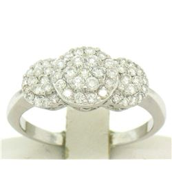 14k Solid White Gold VS F 1.25Ctw 3 Round Cluster Diamond Ring Band