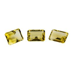 20.63 ctw.Natural Emerald Cut Citrine Quartz Parcel of Three
