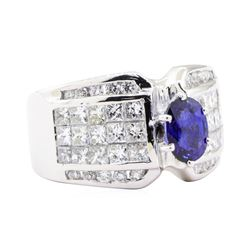 3.43 ctw Sapphire And Diamond Ring - 18KT White Gold