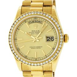 Rolex Mens 18K Yellow Gold 1.0 ctw Channel Set Diamond Day Date President Wristw