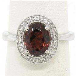 14K White Gold 1.59 ctw Oval Garnet Ring w/ Milgrain Diamond Halo