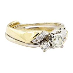 1.00 ctw Diamond Two-Tone Wedding Set - 14KT Yellow and White Gold