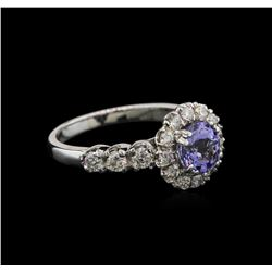 1.33 ctw Tanzanite and Diamond Ring - 14KT White Gold