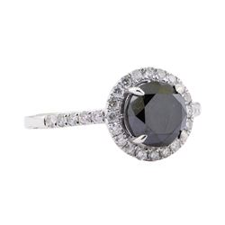 2.54 ctw Black Diamond Ring - 14KT White Gold