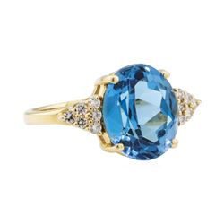 5.75 ctw Blue Topaz and Diamond Ring - 14KT Yellow Gold