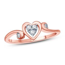 14K Rose Gold 0.09CTW Diamond Ring, (I1-I2/H-I)