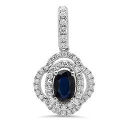 14k Gold 0.72CTW Blue Sapphire Pendant