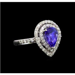 18KT White Gold 1.15 ctw Tanzanite and Diamond Ring