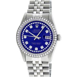 Rolex Mens Stainless Steel Blue String Diamond 36MM Datejust Wristwatch