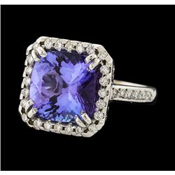 5.71 ctw Tanzanite and Diamond Ring - 14KT White Gold