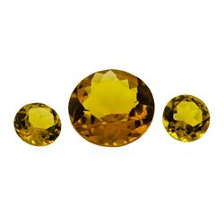 9.04 ctw.Natural Round Cut Citrine Quartz Parcel of Three