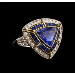 3.06 ctw Sapphire and Diamond Ring - 18KT Yellow Gold