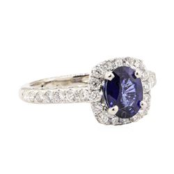 2.06 ctw Blue Sapphire And Diamond Ring - 14KT White Gold