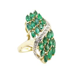 8.12 ctw Emerald and Diamond Waterfall Ring - 14KT Yellow Gold