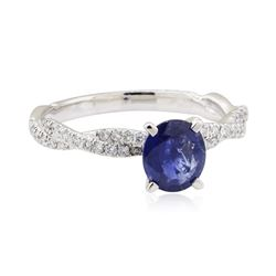 1.90 ctw Sapphire and Diamond Ring - 14KT White Gold