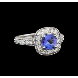 14KT White Gold 1.23 ctw Tanzanite and Diamond Ring