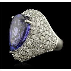 14KT White Gold 14.82 ctw GIA Certified Tanzanite and Diamond Ring