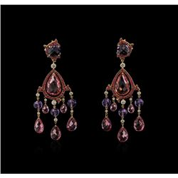 Ralph Lauren 54.06 ctw Multi Gemstone and Diamond Earrings - 18KT Rose Gold