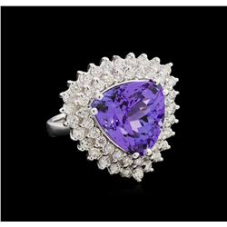 10.95 ctw Tanzanite and Diamond Ring - 14KT White Gold