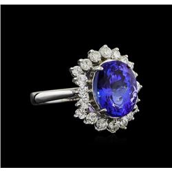 14KT White Gold 3.88 ctw Tanzanite and Diamond Ring