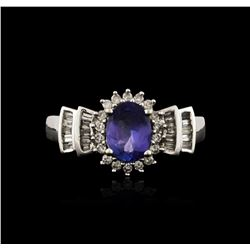 14KT White Gold 1.03 ctw Tanzanite and Diamond Ring