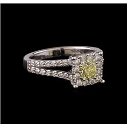 1.09 ctw Fancy Yellow Diamond Ring - 14KT White Gold