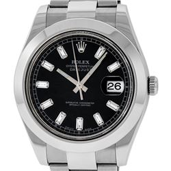 Rolex Mens SS 41MM Black Baguette Diamond Datejust 2 Oyster Band Wristwatch With