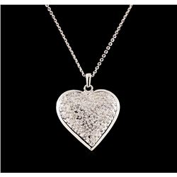 14KT White Gold 1.29 ctw Diamond Heart Pendant With Chain