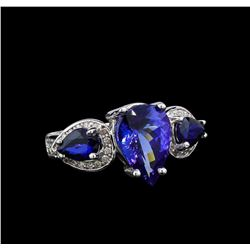 14KT White Gold 3.83 ctw Tanzanite, Sapphire and Diamond Ring
