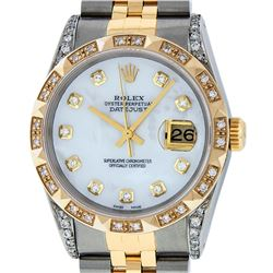 Rolex Mens 2 Tone 14K Lugs MOP Diamond Pyramid Diamond 36MM Datejust