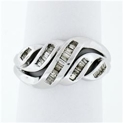 Solid 14k White Gold .75 ctw Channel Set Baguette Cut Diamond Open Swirl Band Ri