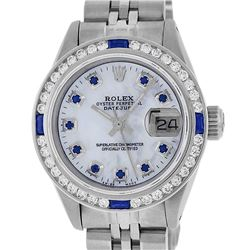 Rolex Ladies Stainless Steel MOP Diamond & Channel Set Sapphire Datejust Wristwa