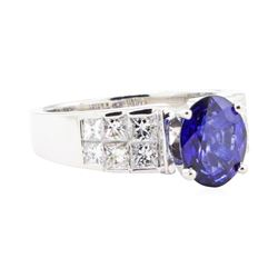 3.13 ctw Sapphire And Diamond Ring - 18KT White Gold