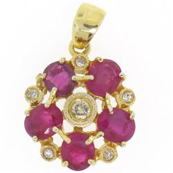 14k Yellow Gold Flower Pendant 2.10 ctw Oval Blood Red Rubies Bezel Set Diamonds