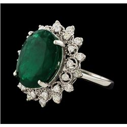 7.78 ctw Emerald and Diamond Ring - 14KT White Gold