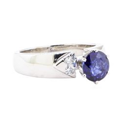 1.66 ctw Sapphire and Diamond Ring - 14KT White Gold