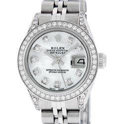 Rolex Ladies Stainless Steel Diamond Lugs MOP Diamond Datejust Wristwatch