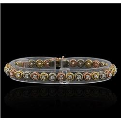 1.65 ctw Diamond Bracelet - 14KT Tri Color Gold