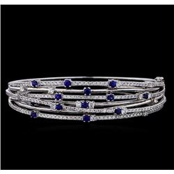 1.35 ctw Sapphire and Diamond Bracelet - 14KT White Gold