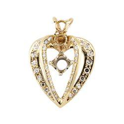 1.00 ctw Diamond Semi-Mount Heart Shaped Pendant - 14KT Yellow Gold