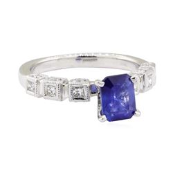 1.75 ctw Sapphire and Diamond Ring - 18KT White Gold